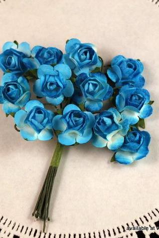 24 - Handmade Mulberry Paper Roses - Ocean Breeze (Turquoise)