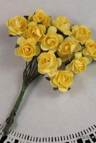 24 - Handmade Mulberry Paper Roses - Sunshine (Yellow)