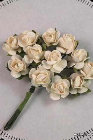 24 - Handmade Mulberry Paper Roses - Coconut (Ivory)