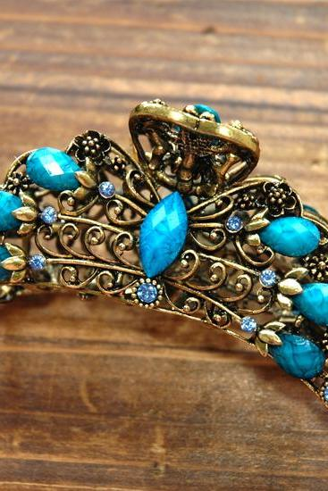 Teal Blue Bouquet Flower Filigree Claw Clip