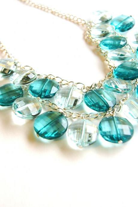 Teal Beaded Chain Dangle Necklace