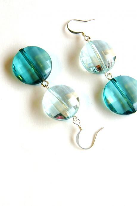 Blue Green Dangle Earrings