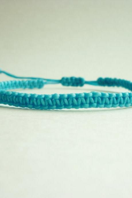 Simple Single Line Turquoise Blue Wax Cord Bracelet / Wristband - Gift under 5 - Adjustable Bracelet