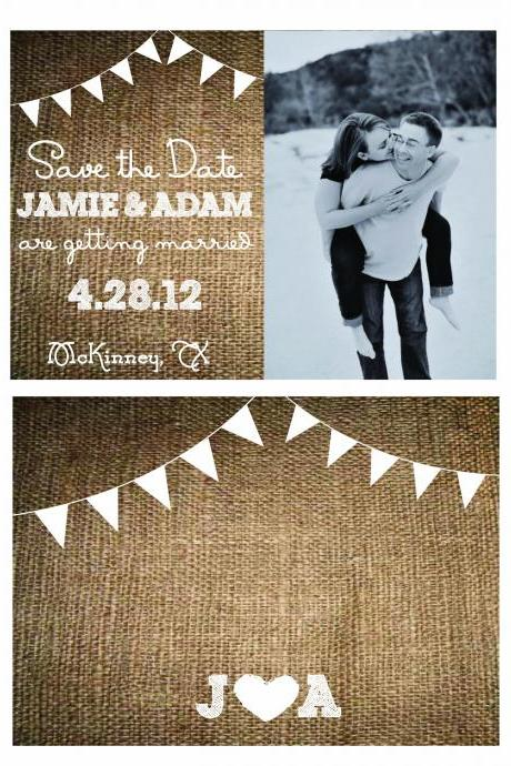 Rustic Wedding Save the Dates Burlap & Bunting