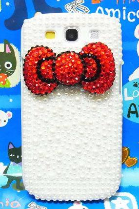 Bling Crystal Samsung i9300 T999 Galaxy S3 T-Mobile case, Red Bow Samsung Galaxy S3 T-Mobile case, Pearl Samsung i9300 T999 Galaxy S3 SIII T-Mobile case A2