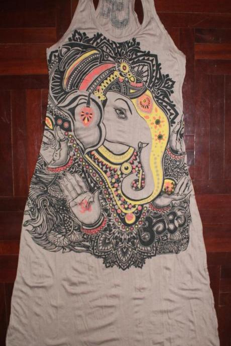 Long Dress Ganesha Hindu OM Sign Hamsa Hand Yoga Clothing Buddha Yoga Tee