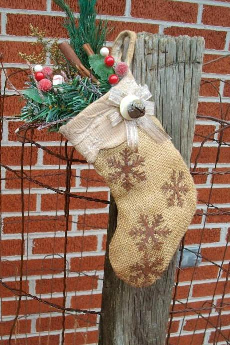 Rustic Christmas Stocking - Vintage Fabric, Preserved Greenery, Artificial Berries - Rusty Bell and Snowflakes