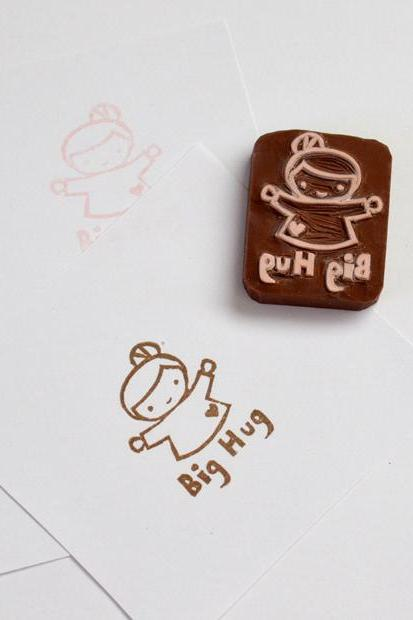 Hand Carved Rubber Stamp / Big Hug