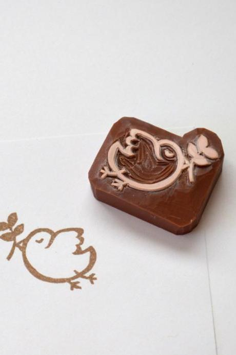 Hand Carved Rubber Stamp / peace bird