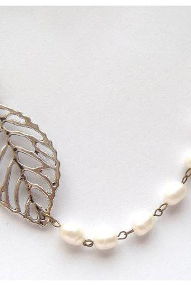 Silver Plated Brass Leaf White Pearl Necklace