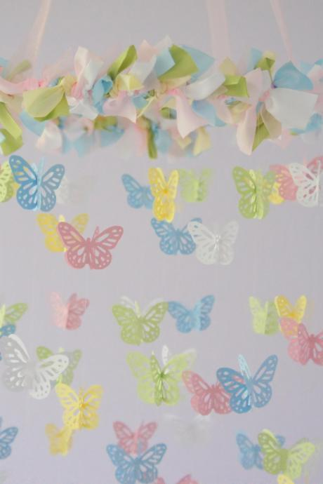 Baby Pink & Blue Butterfly Nursery Mobile, Nursery Decor, Baby Shower Gift