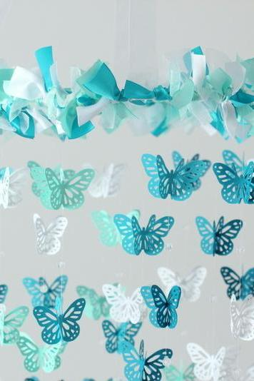 Aqua, Teal & White Butterfly Nursery Mobile