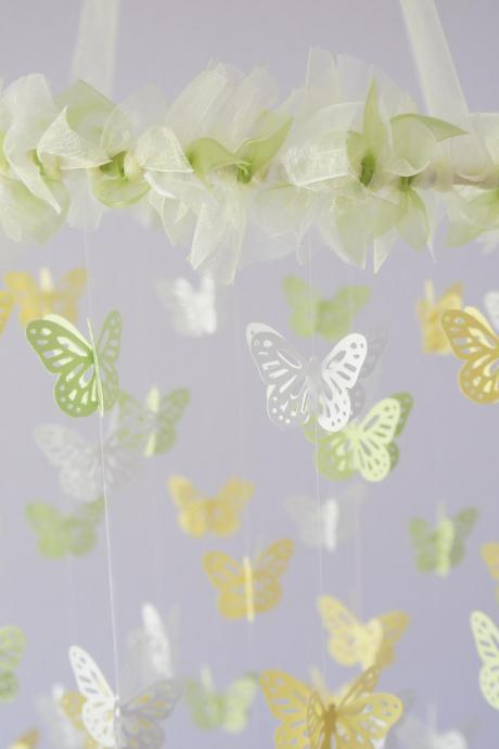 Green & Yellow Nursery Butterfly Mobile