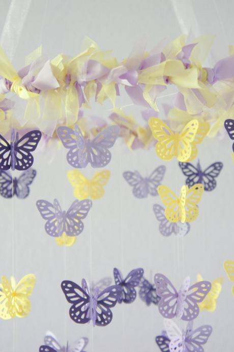 Purple, Lavender, Yellow Butterfly Mobile