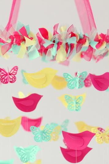 Butterflies & Birds Nursery Mobile in Bright pink, Aqua, Yellow
