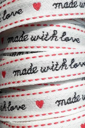 3meter 'Made With Love' & Heart Ribbon 1.5cm