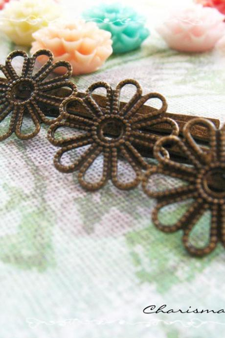 12 Filigree Bobby Pins Hair ornaments Antique Bronze, Flower 2x59x2mm