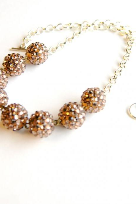 Metallic Silver Beaded Necklace
