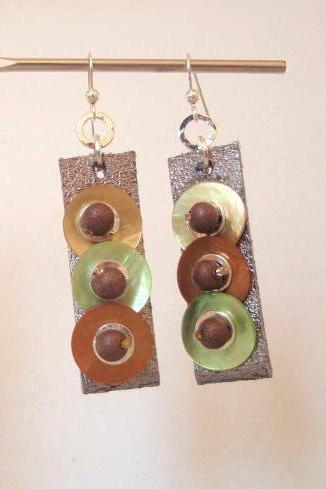 Autumn Colors - Leather Geometric Earrings - Mother Of Pearl Earrings - Fall Winter Gift For Her