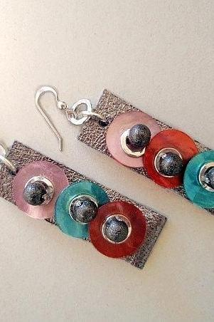 Leather Geometric Earrings - Mother Of Pearl Earrings - Colorful Dots - Fall Winter Gift For Her