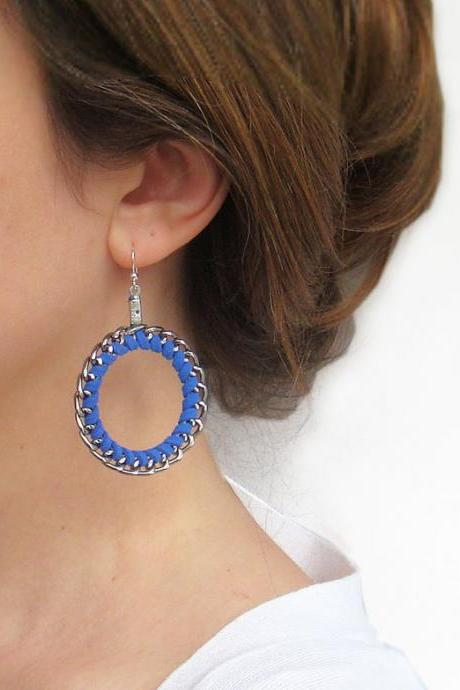 Royal blue earrings - Braided Hoop Earrings - Round Wrap Chain Earrings - Everyday Jewelry