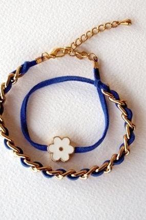 Double Wrap Bracelet, Cobalt Blue, Gold Chain, White Daisy Enammeled Bead, Fashion Bracelet