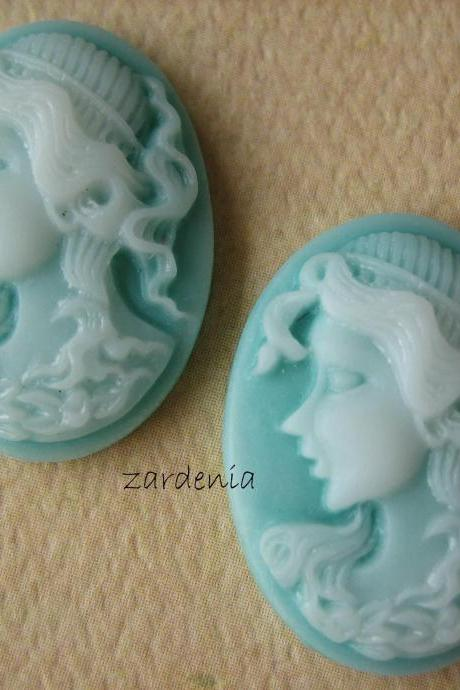 2PCS - Oval Lady Cameos - Mint - 24x18x5mm