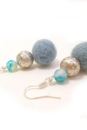 Blue Silver Felted Beaded Earrings, Wool Beaded Dangle Earrings, Semi Precious Stone Agate beads