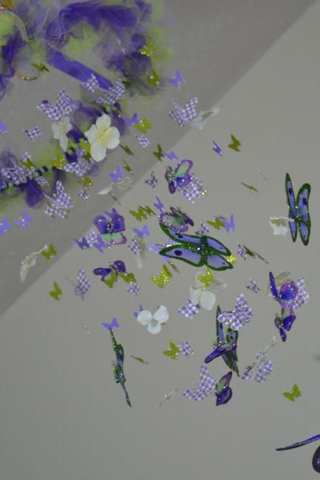 Butterfly Mobile Purple, Green and White Crib mobile, Nursery Decor, Baby Shower Gift, Chandelier