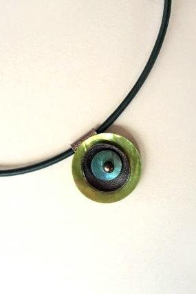 Shell and Leather Unique Pendant Necklace - Light Green and Blue - Fall Winter Fashion Necklace - Round Leather Pendant