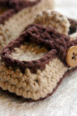 "Boy Button Loafer Crochet Pattern for ""Button Loafers Booties"" Pattern number 112"