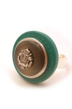 Green Silver Button Ring, Statement Crest Ring, Rustic Silver Teal Green Adjustable Ring, Vintage Style Ring