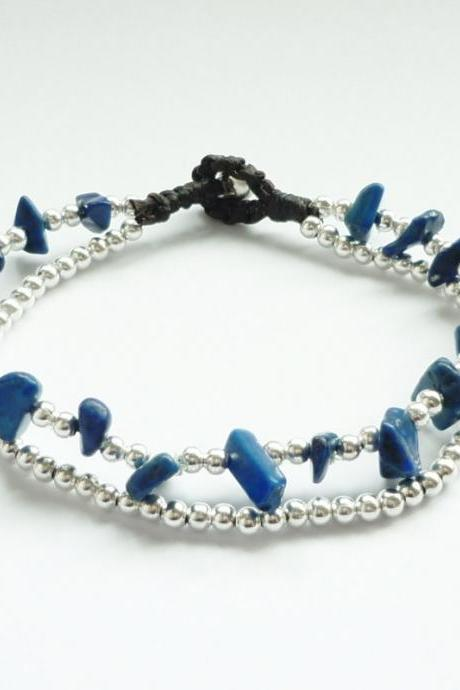 Double Strands of Navy Blue Lapis Lazuli Chip Beads and Silver Plated Beads with Wax Cord Bracelet - Gift for her