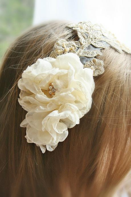 Lace Bridal Headpiece, Gold, Champagne, Bridal Headband, Pearl, Bridal Hair Flowers, Hair Accessories, Wedding Accessories