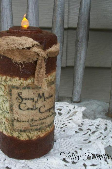 Primitive Flameless Flicker Candle, Winter, Snowman