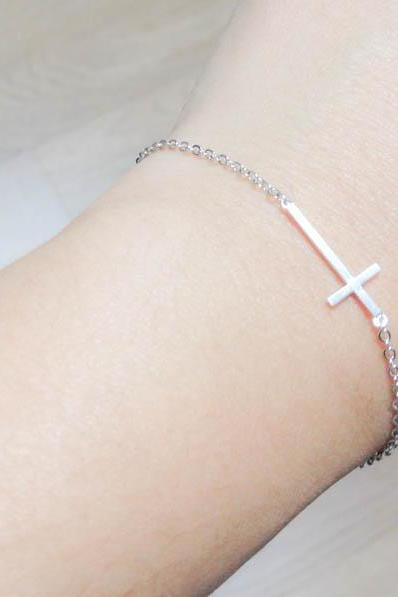 Sideways Cross Bracelet in Silver