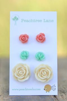 Seafoam Mint Green Flower Rose Earrings // Cream Rose Earrings // Pink Rose Earrings