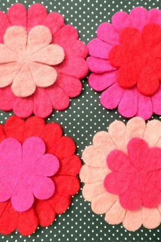 4x Large Pink Wool Felt Flowers