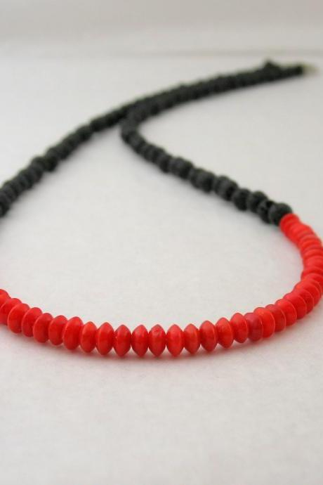 Passion Beaded Necklace, Black Red Necklace, Semi precious stones volcanic lava and coral beads