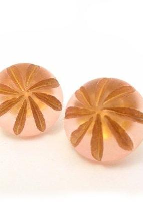 Pink Gold Margarita Earrings, Post Earrings, Floral Button Jewelry, synthetic button, under 20