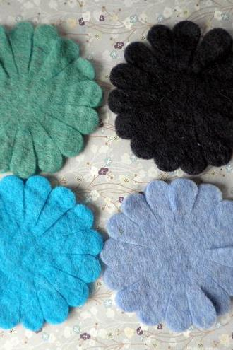 4x Large Blues Wool Felt Flowers