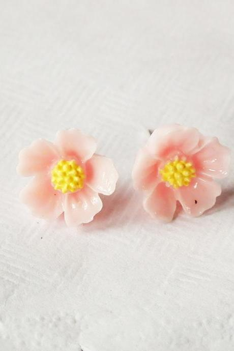 Light Pink blossom stud earring - 925 sterling silver post earring