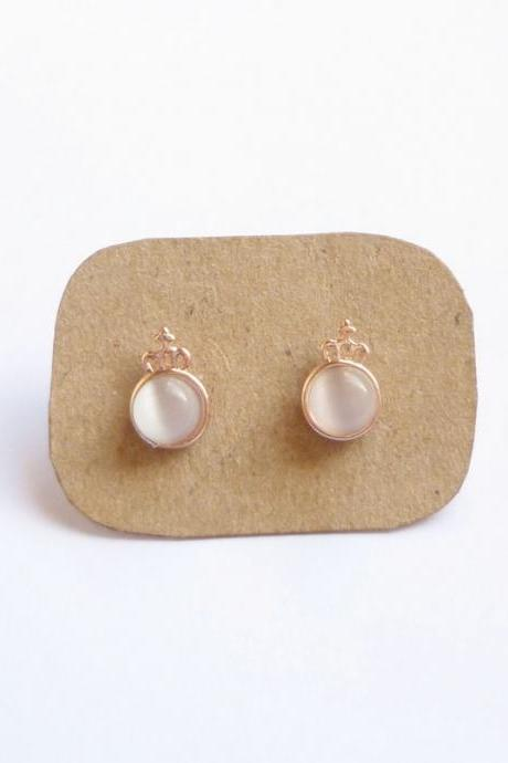 SALE - Little White Crown Rose Gold Stud Earrings - Gift under 10