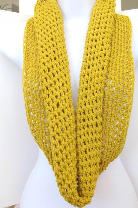 Crochet infinity scarf, long fashion cowl, unisex neck warmer in mustard yellow, gift under 40