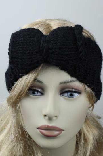 Woman handmade knitted crochet headband head warmer with bow hat cap black
