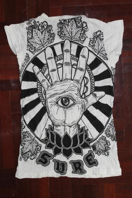Women's SIZE S ONLY T shirt Hamsa Hand Yoga Clothing Buddha Ganesha Boho tank top Om
