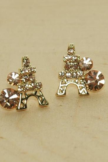 Rose Gold Paris Eiffel Tower Dazzling Earrings