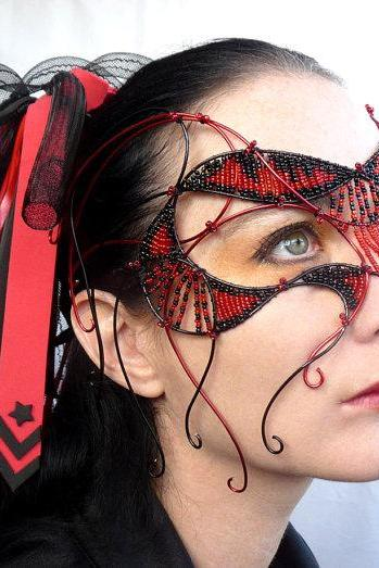 Red and black cyber gothic mask