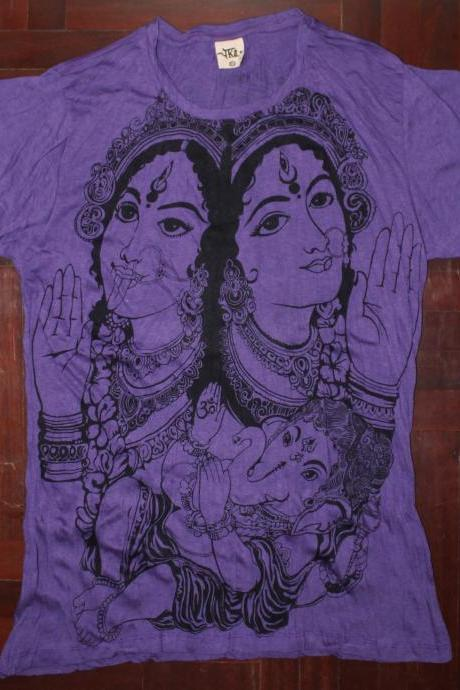Women's SIZE XL ONLY T shirt Hamsa Hand Yoga Clothing Buddha Ganesha Boho tank top Om
