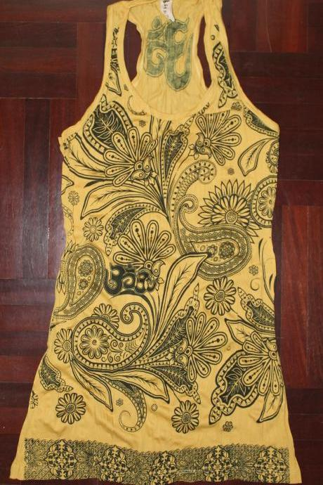 Long Tank Dress OM Boho Hindu Hippe Over Bikini Beach Dress